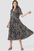 NA-KD Boho Collar Printed Midi Dress - Black