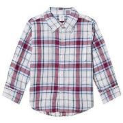 GAP Plaid Linen Blend Convertible Shirt 18-24 mnd