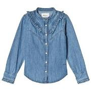 Pepe Jeans Blue Rosy Ruffle Detail Denim Shirt 4 years