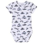 Hust&Claire Transport Print Baby Body White 80 cm (9-12 mnd)