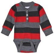 Geggamoja Wool Baby Body Grey/Raspberry 50/56 cm