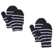 Lindberg 2-Pack Magic Stripe Wool Mittens Navy 12 cm (1-3Y)