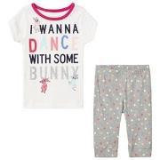 GAP White and Gray I Wanna Dance Spotted Pyjamas 4 år