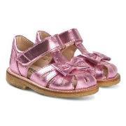 Angulus Metallic Pink Leather Bow Close Toe Sandals 25 (UK 8)