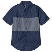 GAP Dark Chambray Colorblock Short Sleeve Shirt XS (4-5 år)