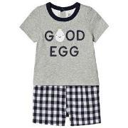 GAP Egg Romper Grey/Navy 0-3 mnd