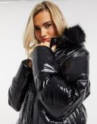 Brave Soul jayne high shine parka with faux fur trim-Black