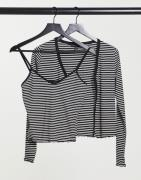 New Look twin set cardi and cami in black stripe