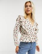 ASOS DESIGN cotton wrap top with ruffle detail in floral print-Multi