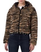 Calvin Klein Jeans sherpa hooded zip through fleece in tiger print-Bla...