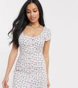 Fashion Union Petite mini dress in rose floral-White