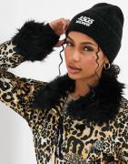 ASOS 4505 ski beanie hat in fluffy knit-Black