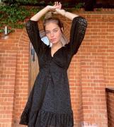 River Island Petite v-neck balloon sleeve lace mini dress in black-Whi...