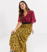 Twisted Wunder chiffon midaxi dress in mix and match floral print-Mult...