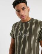 New Look Brooklyn embroidered vertical stripe t-shirt in rust-Brown